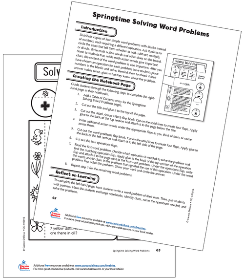 Springtime Solving Word Problems Grade 3 Free Printable
