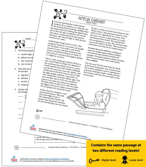 Amelia Earhart Grades 3-5 Free Printable