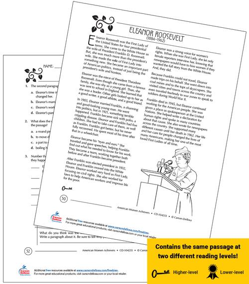Eleanor Roosevelt Grades 3-5 Free Printable