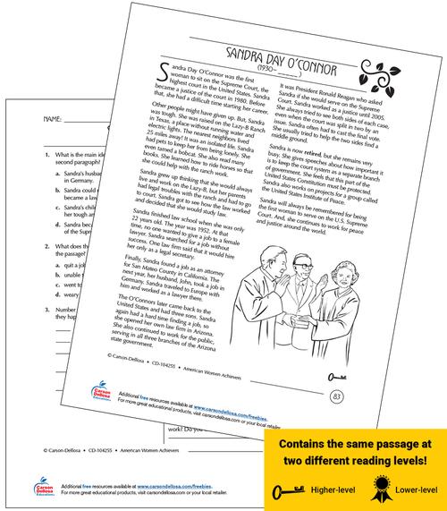 Sandra Day O'Connor Grades 3-5 Free Printable