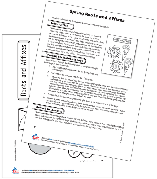 Spring Roots and Affixes Grade 4 Free Printable