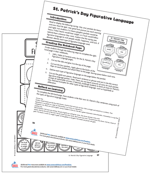 St. Patrick's Day Figurative Language Grade 4 Free Printable