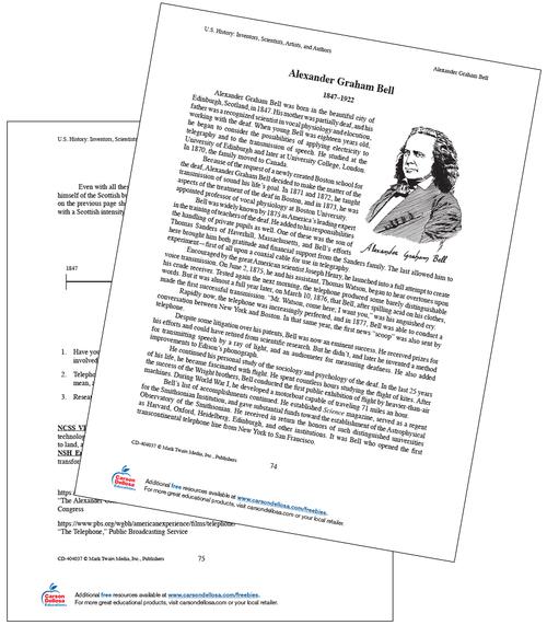 Alexander Graham Bell Grades 6-8 Free Printable