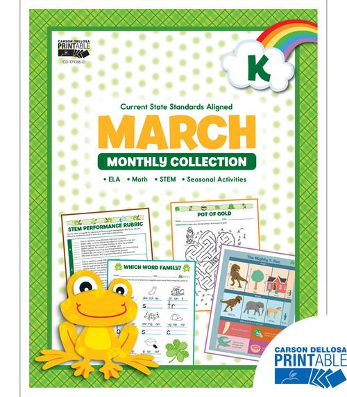 Carson-Dellosa March Monthly Collection, Grade K Teacher