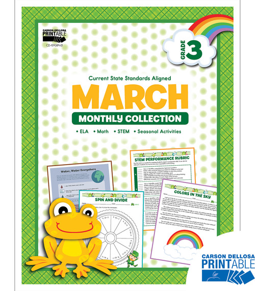 Carson-Dellosa March Monthly Collection, Grade 3 Teacher