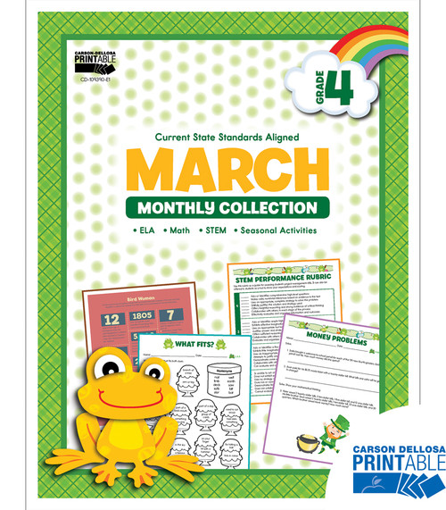 Carson-Dellosa March Monthly Collection, Grade 4 Teacher
