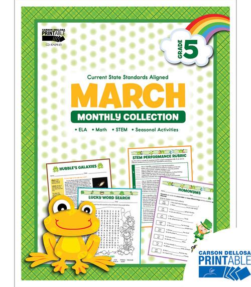 Carson-Dellosa March Monthly Collection, Grade 5 Teacher