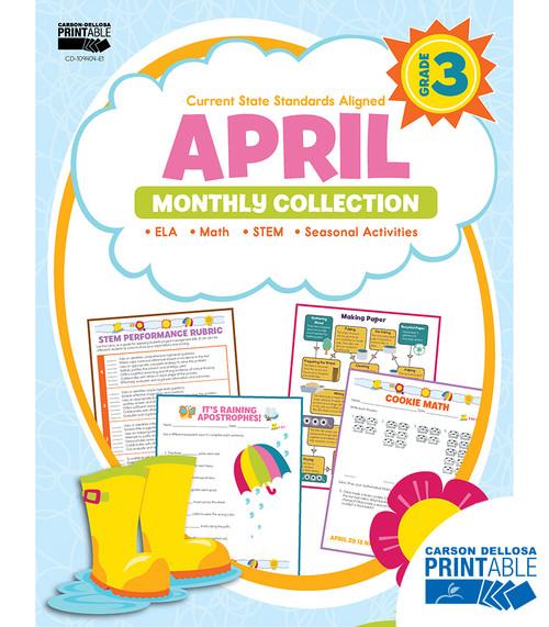 Carson-Dellosa April Monthly Collection, Grade 3 Teacher