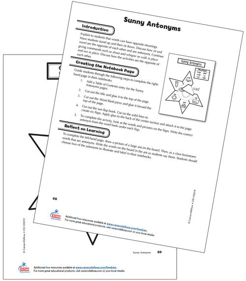 Sunny Antonyms Free Printable