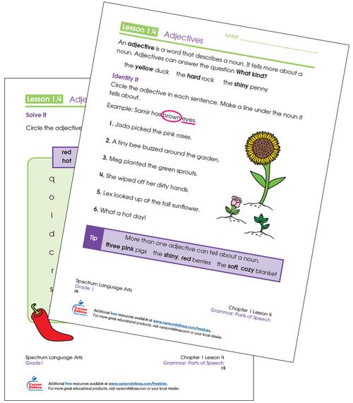 Adjectives Grade 1 Free Printable