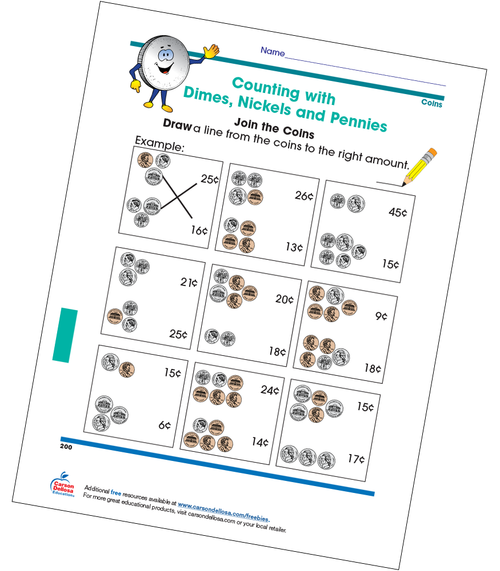 Counting with Dimes, Nickels, and Pennies Grade 2 Free Printable