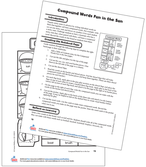 Compound Words Fun in the Sun Grade 2 Free Printable