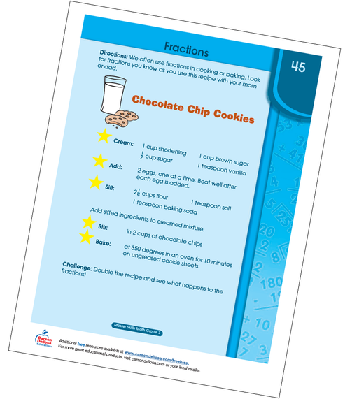 Fractions with Chocolate Chip Cookies Grade 3 Free Printable