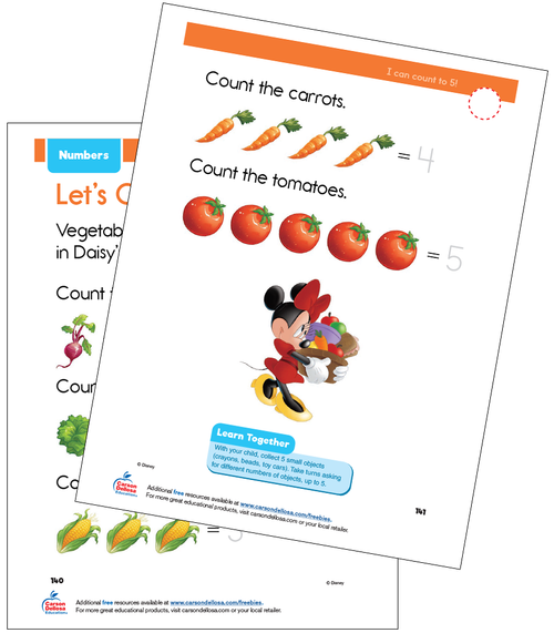 Numbers 1 to 5 Disney Learning PreK Free Printable