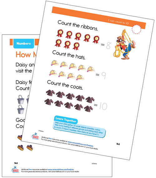 Numbers 5 to 10 Disney Learning PreK Free Printable