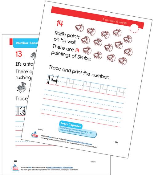 Number Sense 13 and 14 Grade K Disney Learning Free Printable