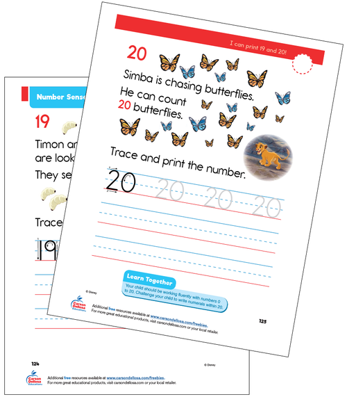 Number Sense 19 and 20 Grade K Disney Learning Free Printable