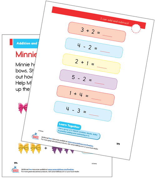 Addition and Subtraction Grade K Disney Learning Free Printable