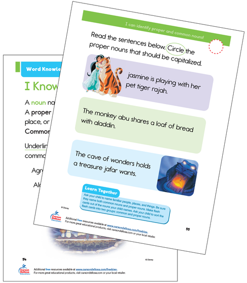 Word Knowledge: Proper and Common Nouns Grade 1 Disney Learning Free Printable