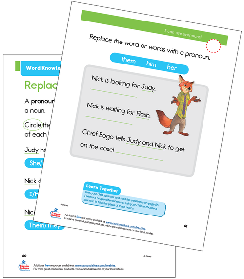 Word Knowledge: Pronouns Grade 1 Disney Learning Free Printable