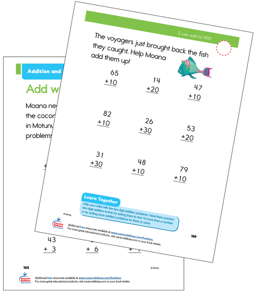 Addition and Subtraction to 100 Grade 1 Disney Learning Free Printable
