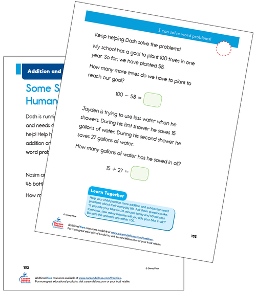 Addition and Subtraction Grade 2 Disney Learning Free Printable