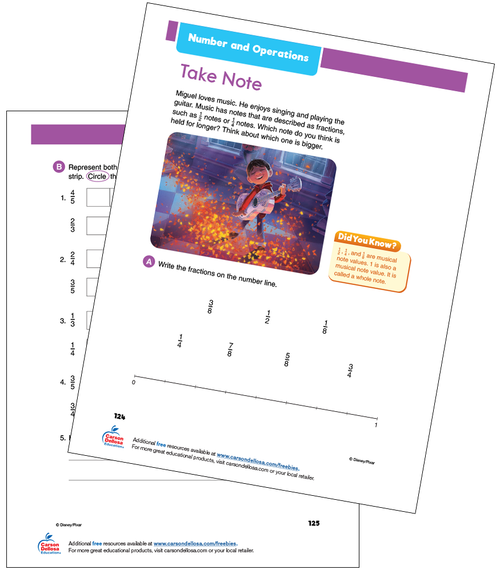 Number and Operations: Comparing Fractions Grade 3 Disney Learning Free Printable