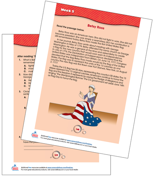 Betsy Ross: American Flag Free Printable