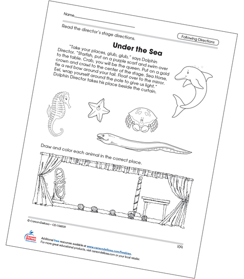 Under the Sea Following Directions Free Printable