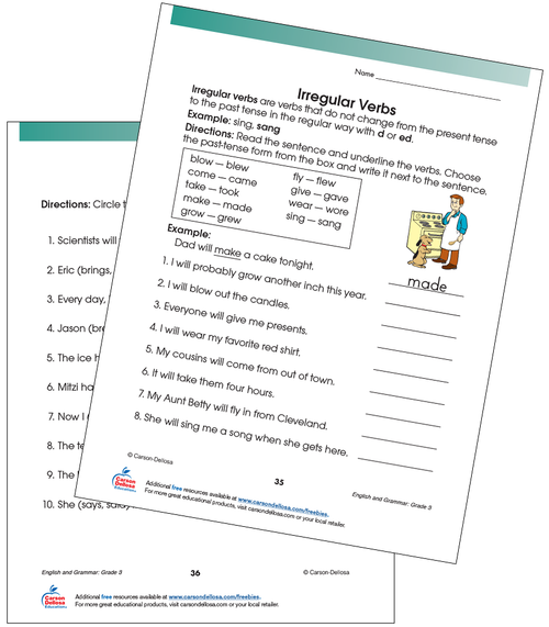 Irregular Verbs Free Printable