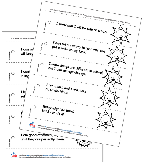 Positive Affirmations (Black & White) Grades PK-2 Free Printable
