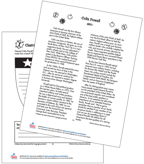 Colin Powell Grades 3-5 Free Printable