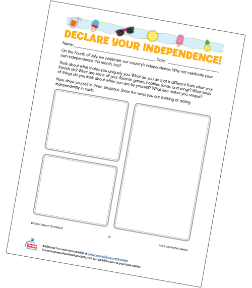 Declare Your Independence Grades K-5 Free Printable