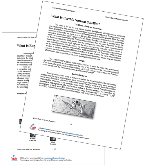 What is Earth's Natural Satellite Grades 4-8 Free Printable
