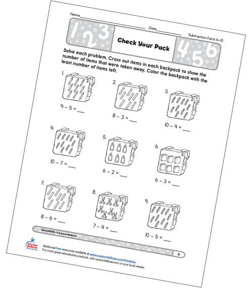 Check Your Pack Grades K–1 Free Printable