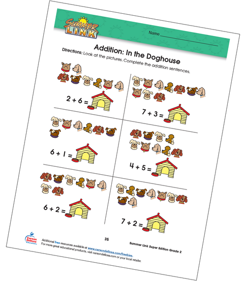 Addition: In the Doghouse Grades 1–2 Free Printable