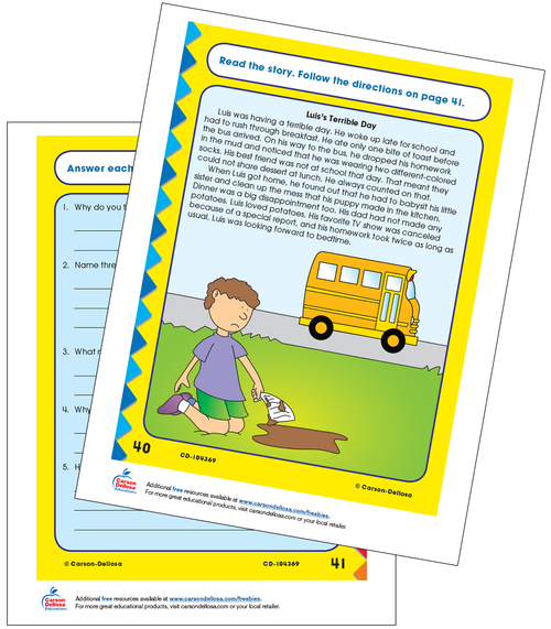 Luis's Terrible Day: Coping with Change at School Grade 3 Free Printable