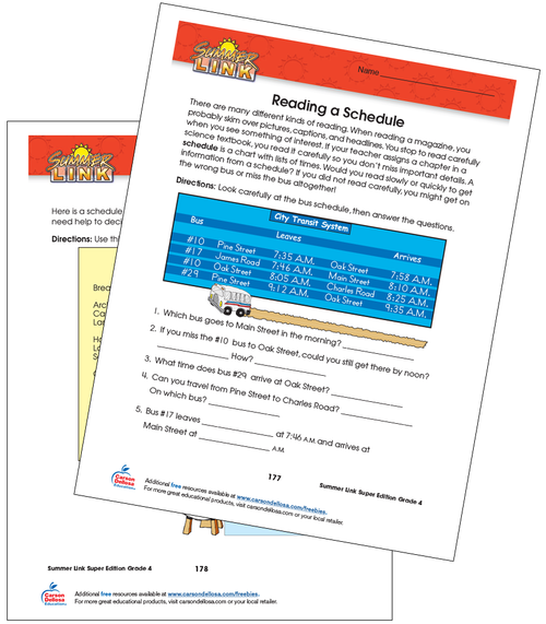 Reading a Schedule Grade 4 Free Printable