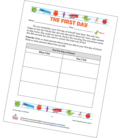The First Day of School Grades K–3 Free Printable