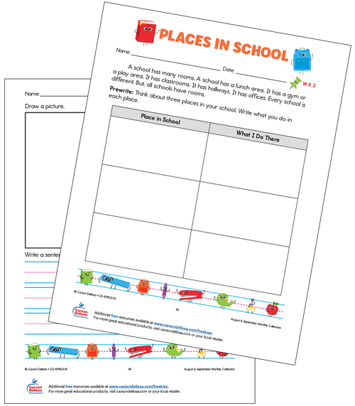 Places in School Grades K–3 Free Printable