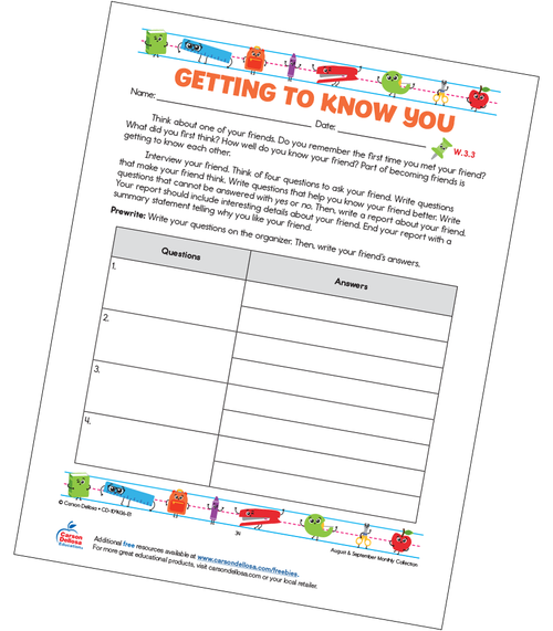 Getting to Know You Grades K–3 Free Printable