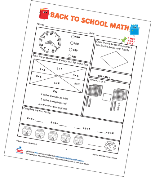 Back to School Math Grades K–3 Free Printable