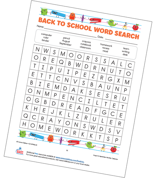Back to School Word Search Grades K–3 Free Printable