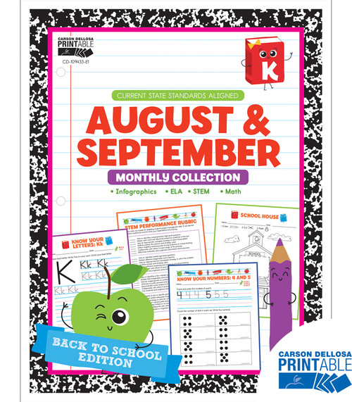 August & September Monthly Collection Grade K Free Printable