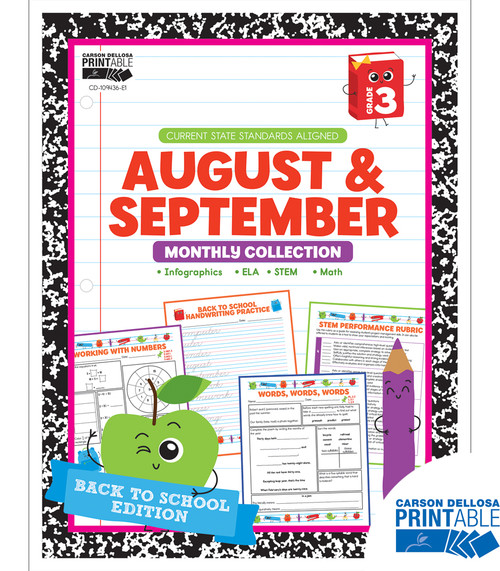 August & September Monthly Collection Grade 3 Free Printable