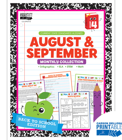 August & September Monthly Collection Grade 4 Free Printable
