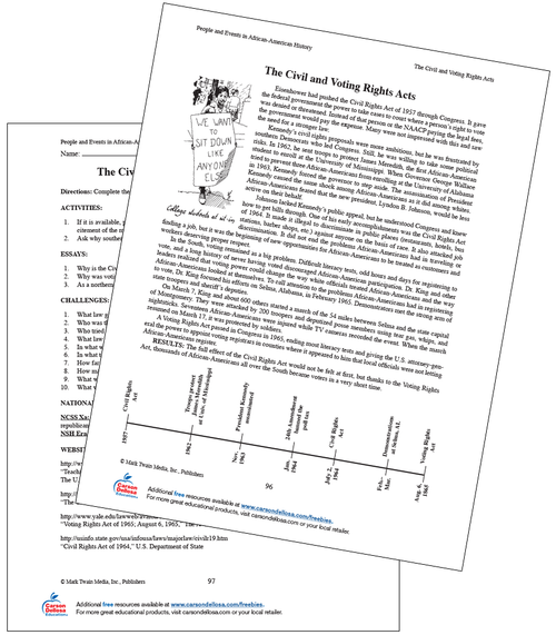 The Civil and Voting Rights Acts Grades 6-8 Free Printable