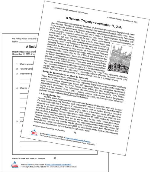 A National Tragedy September 11, 2001 Grades 6-12 Free Printable