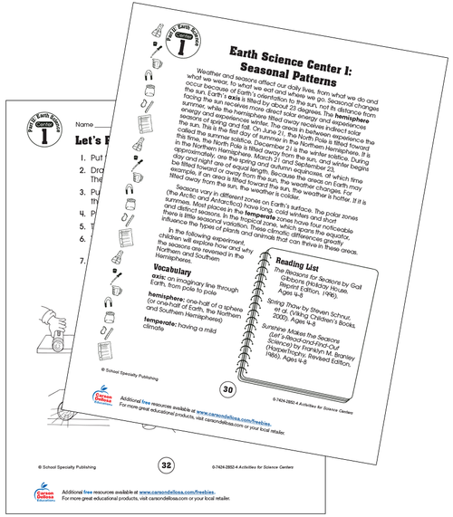 Earth Science: Seasonal Patterns Grade 2 Free Printable