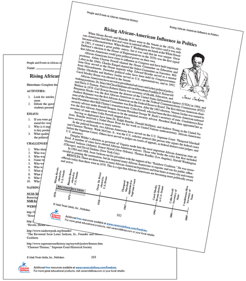 Rising African-American Influence in Politics Grades 6-8 Free Printable